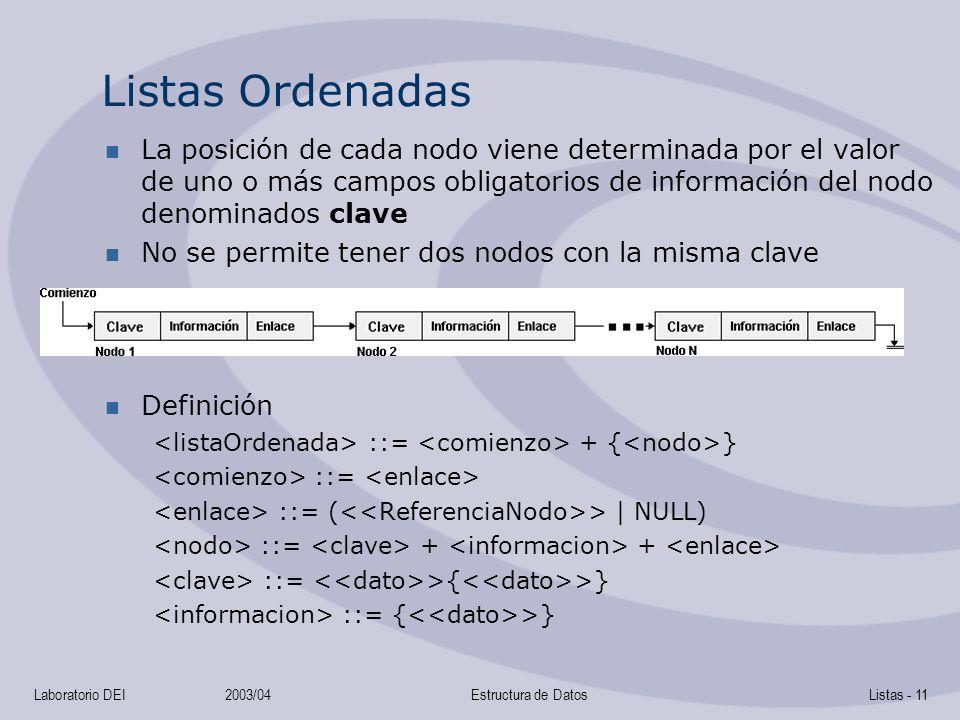 Listas Ordenadas La posición de cada nodo viene determinada por el valor de uno o más campos obligatorios de información del nodo denominados clave.