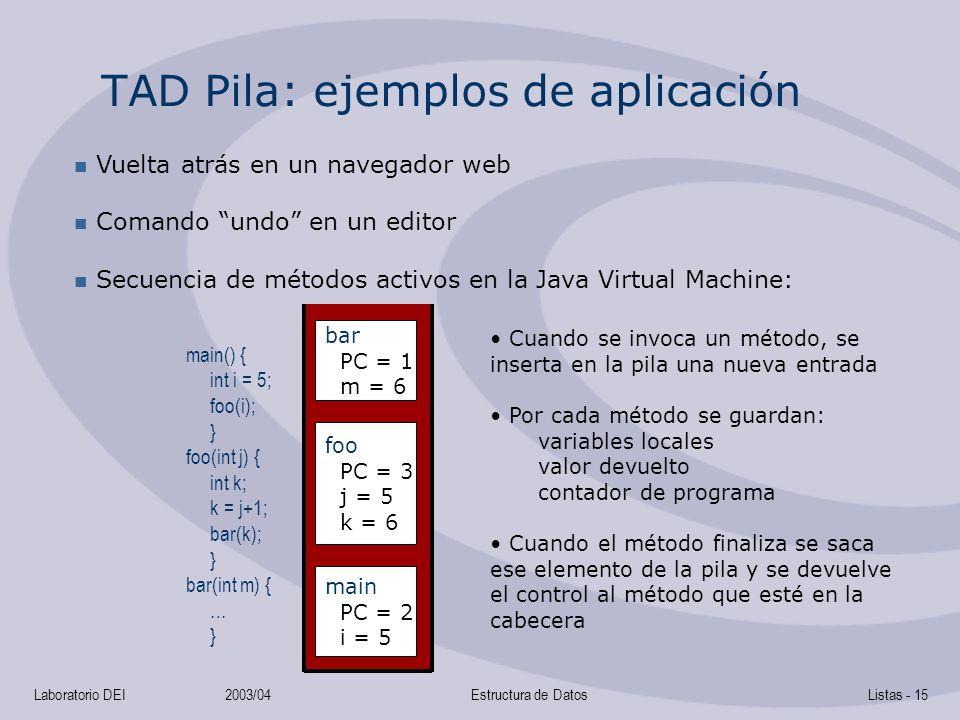 TAD Pila: ejemplos de aplicación