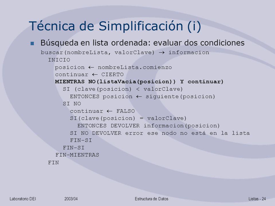Técnica de Simplificación (i)