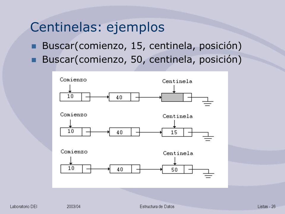 Centinelas: ejemplos Buscar(comienzo, 15, centinela, posición)