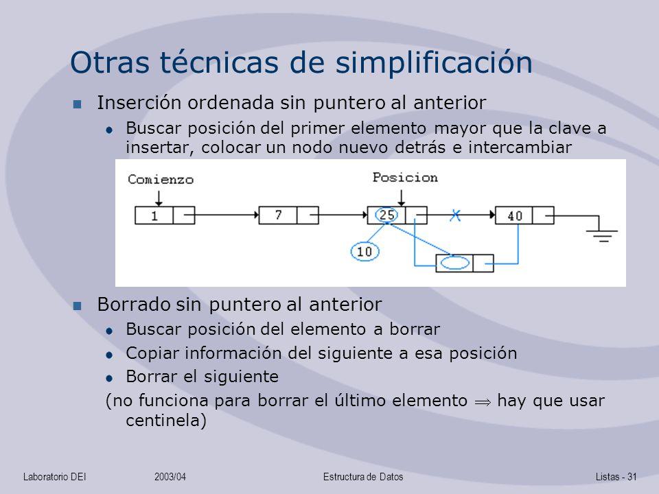 Otras técnicas de simplificación