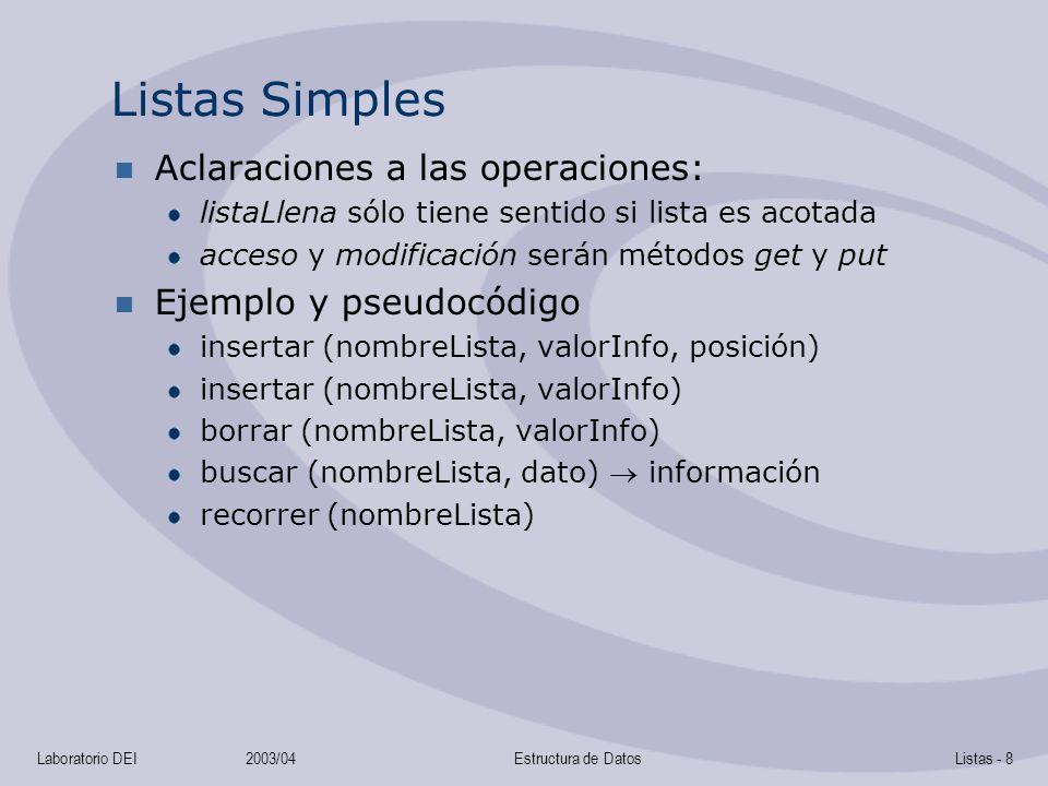 Listas Simples Aclaraciones a las operaciones: Ejemplo y pseudocódigo