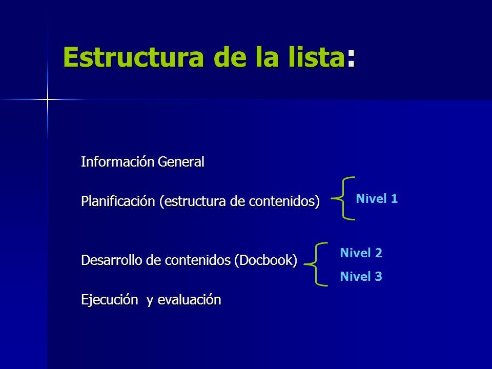 Estructura de la lista: