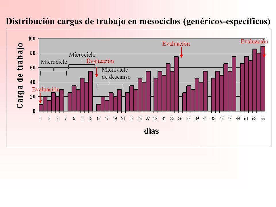 Distribución cargas de trabajo en mesociclos (genéricos-específicos)