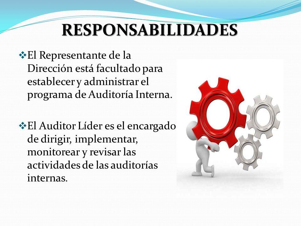 RESPONSABILIDADES El Representante de la Dirección está facultado para establecer y administrar el programa de Auditoría Interna.
