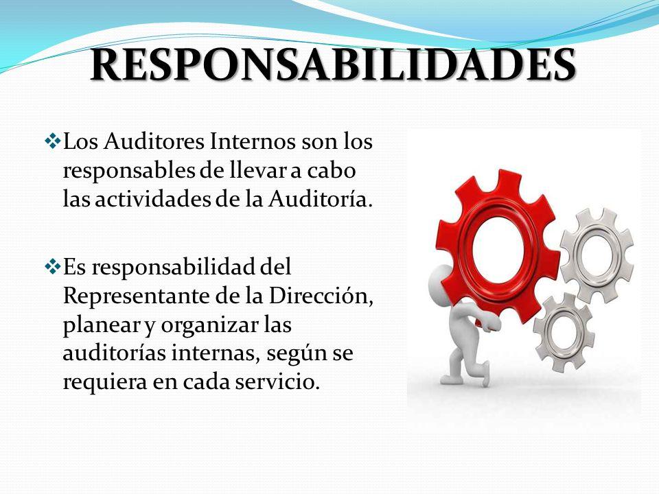 RESPONSABILIDADES Los Auditores Internos son los responsables de llevar a cabo las actividades de la Auditoría.