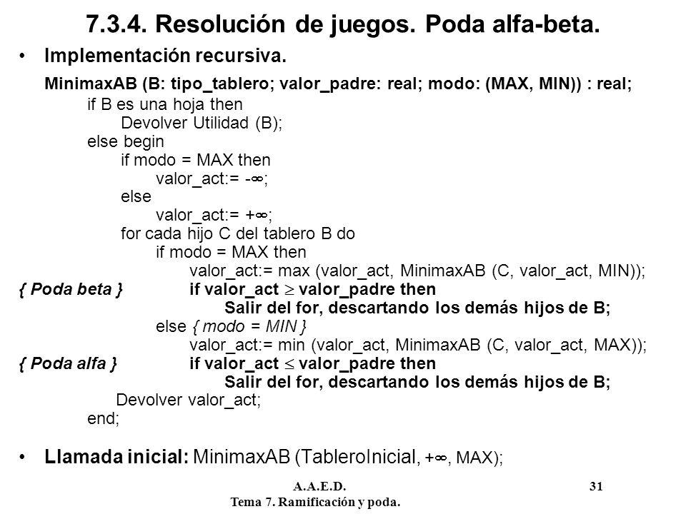 7.3.4. Resolución de juegos. Poda alfa-beta.
