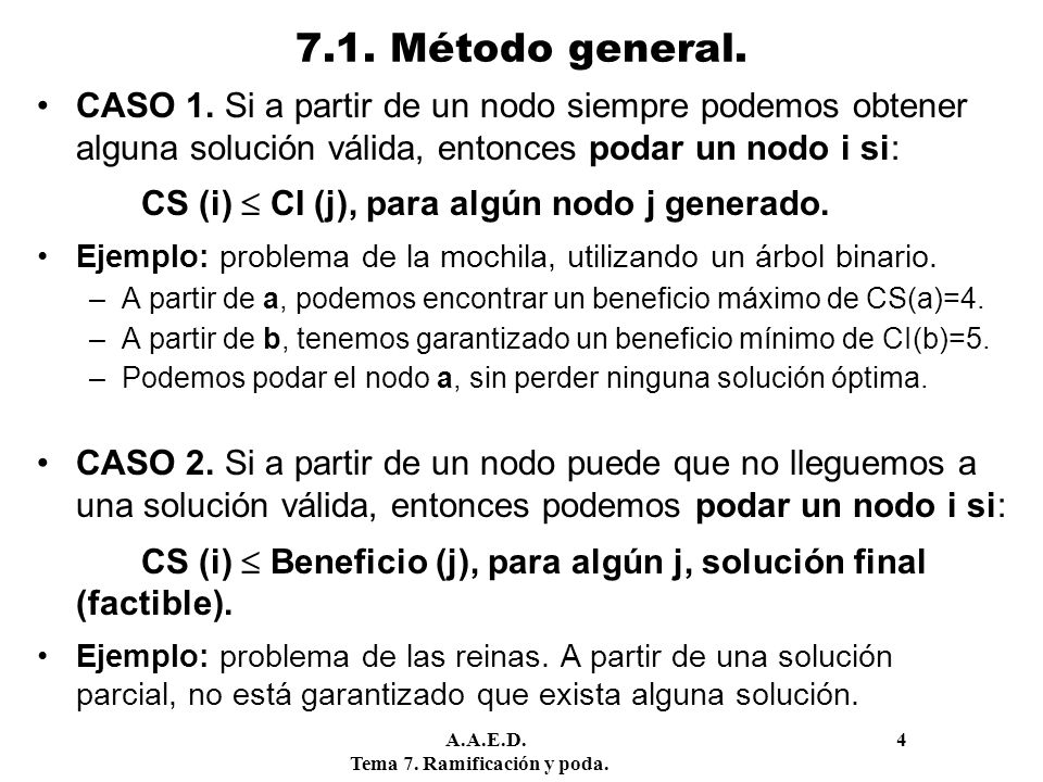 7.1. Método general. CASO 1. Si a partir de un nodo siempre podemos obtener alguna solución válida, entonces podar un nodo i si: