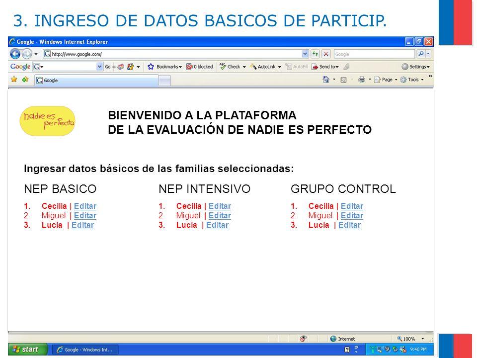 3. INGRESO DE DATOS BASICOS DE PARTICIP.