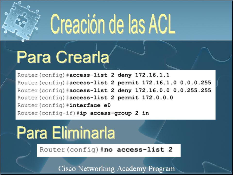 Creación de las ACL Para Crearla Para Eliminarla