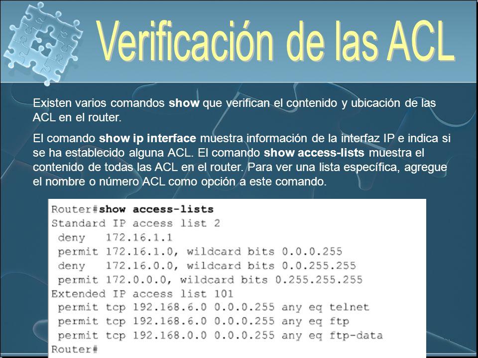 Verificación de las ACL