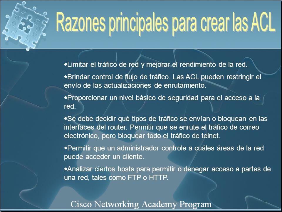 Razones principales para crear las ACL