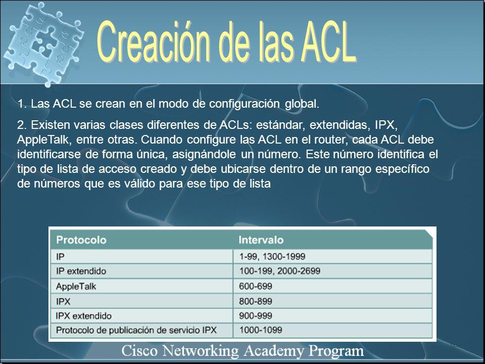 Creación de las ACL 1. Las ACL se crean en el modo de configuración global.