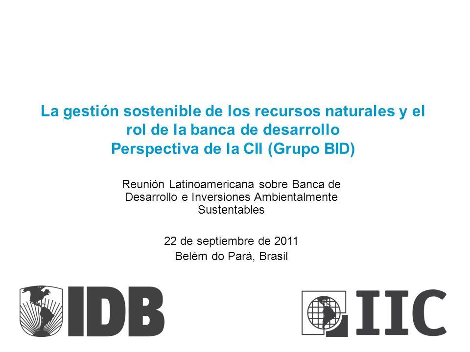 La gestión sostenible de los recursos naturales y el rol de la banca de desarrollo Perspectiva de la CII (Grupo BID)