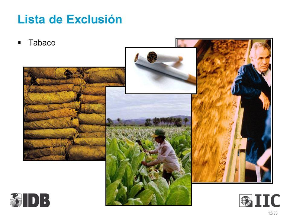 Lista de Exclusión Tabaco