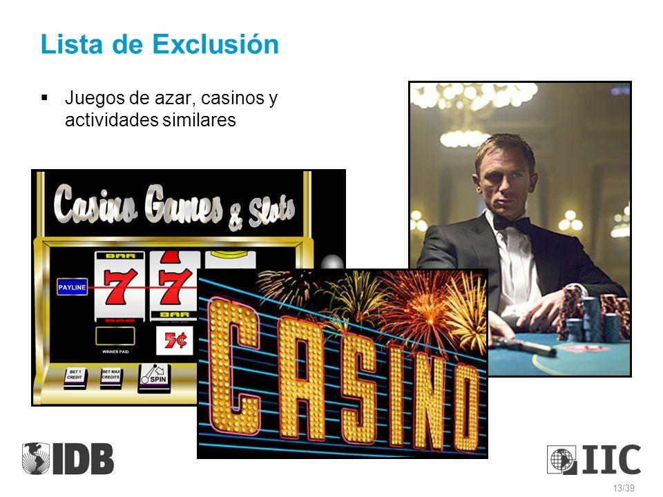 Lista de Exclusión Juegos de azar, casinos y actividades similares