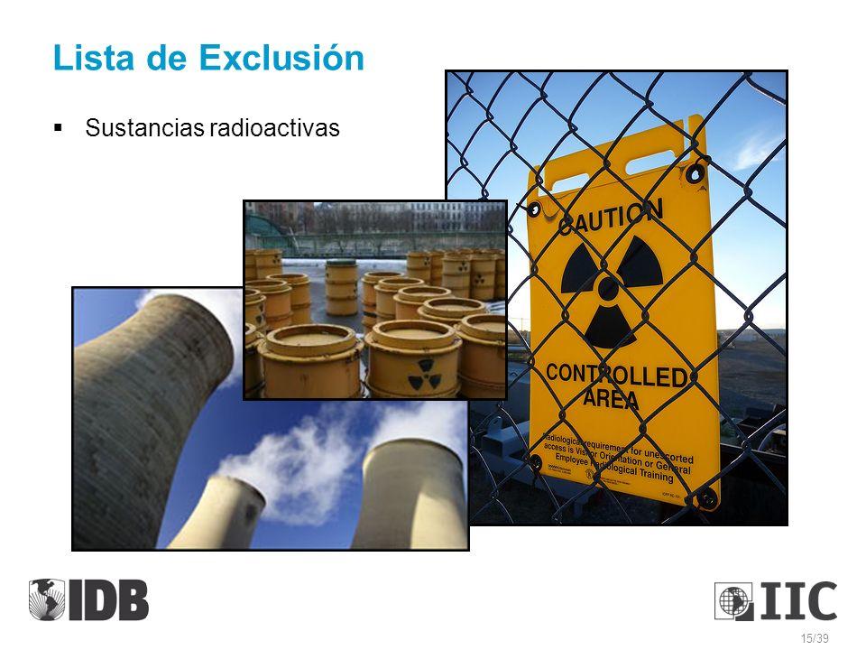 Lista de Exclusión Sustancias radioactivas