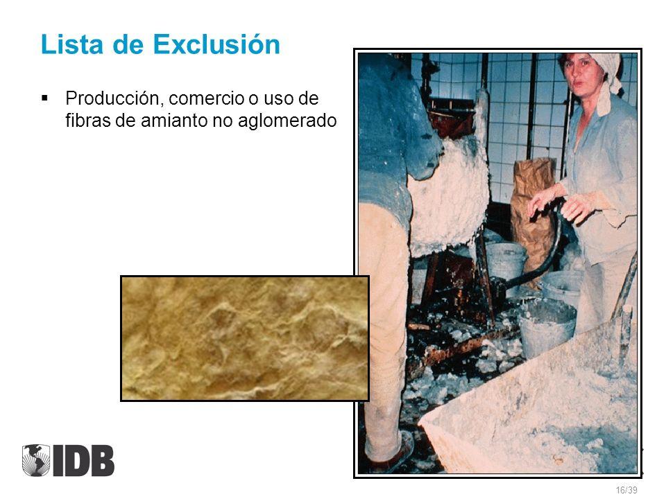 Lista de Exclusión Producción, comercio o uso de fibras de amianto no aglomerado
