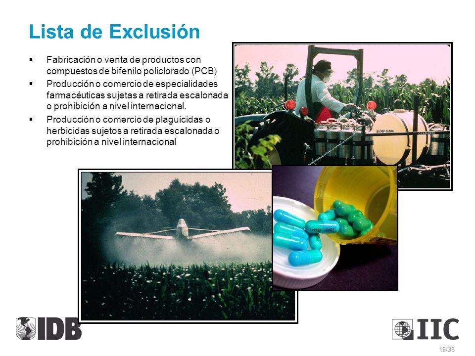 Lista de Exclusión Fabricación o venta de productos con compuestos de bifenilo policlorado (PCB)