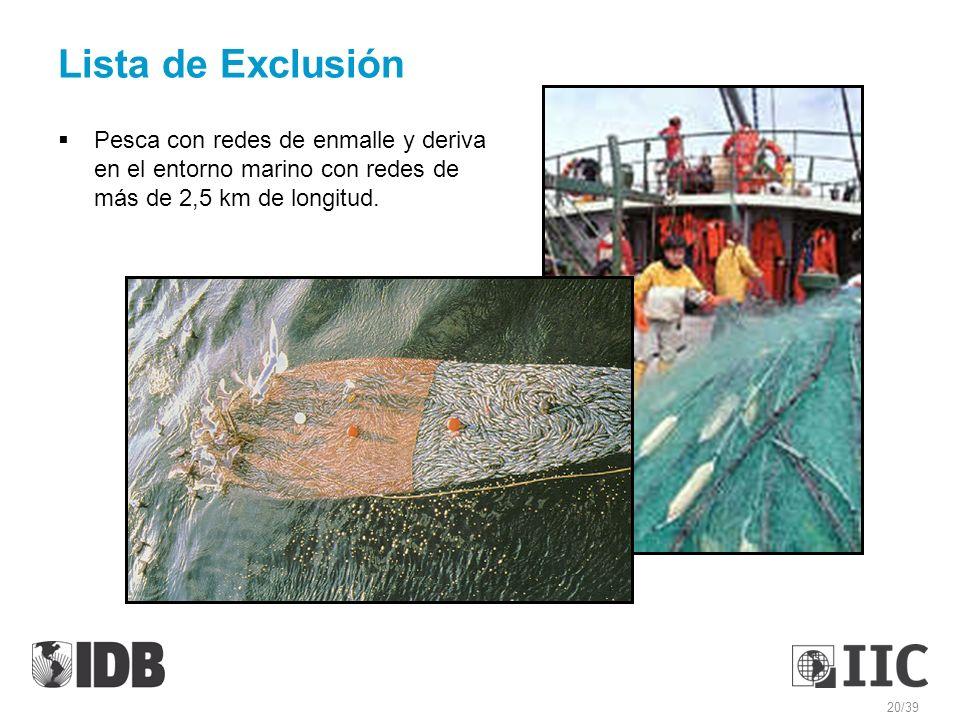 Lista de Exclusión Pesca con redes de enmalle y deriva en el entorno marino con redes de más de 2,5 km de longitud.