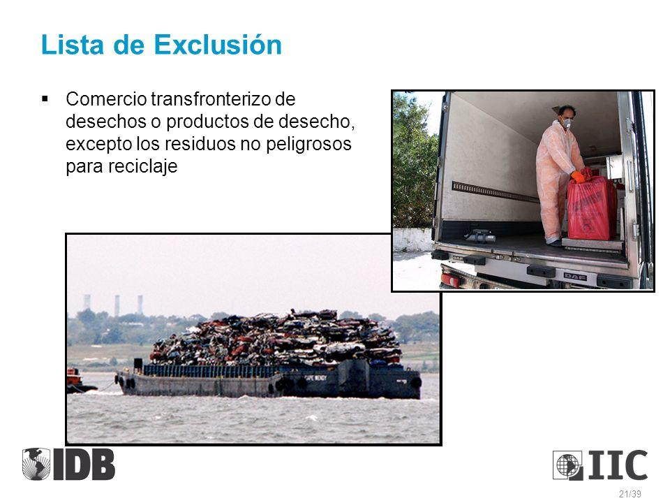 Lista de Exclusión Comercio transfronterizo de desechos o productos de desecho, excepto los residuos no peligrosos para reciclaje.