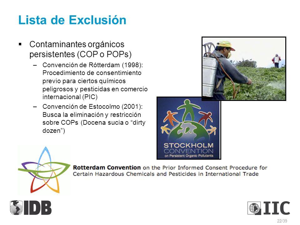 Lista de Exclusión Contaminantes orgánicos persistentes (COP o POPs)