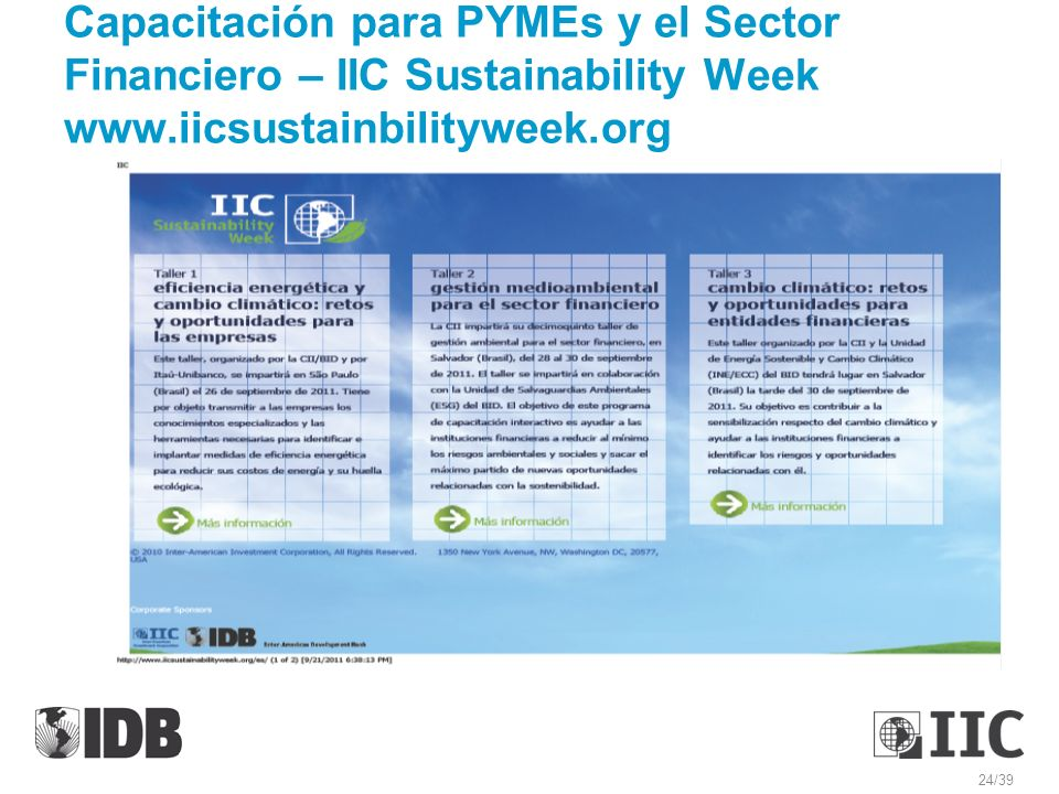 Capacitación para PYMEs y el Sector Financiero – IIC Sustainability Week www.iicsustainbilityweek.org