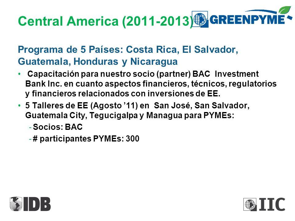 Central America (2011-2013) Programa de 5 Países: Costa Rica, El Salvador, Guatemala, Honduras y Nicaragua.