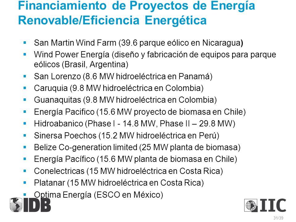 Financiamiento de Proyectos de Energía Renovable/Eficiencia Energética