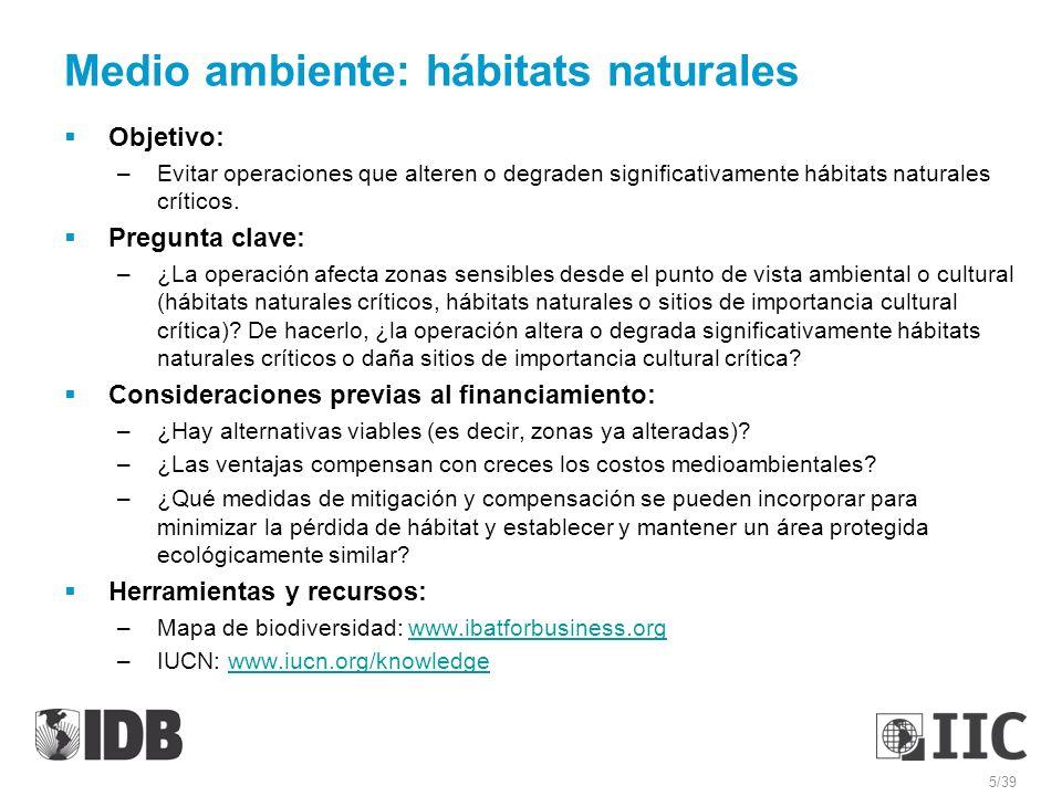 Medio ambiente: hábitats naturales