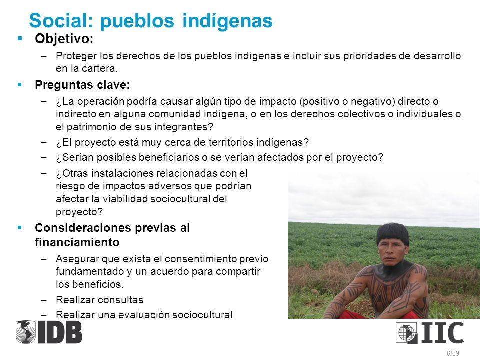 Social: pueblos indígenas