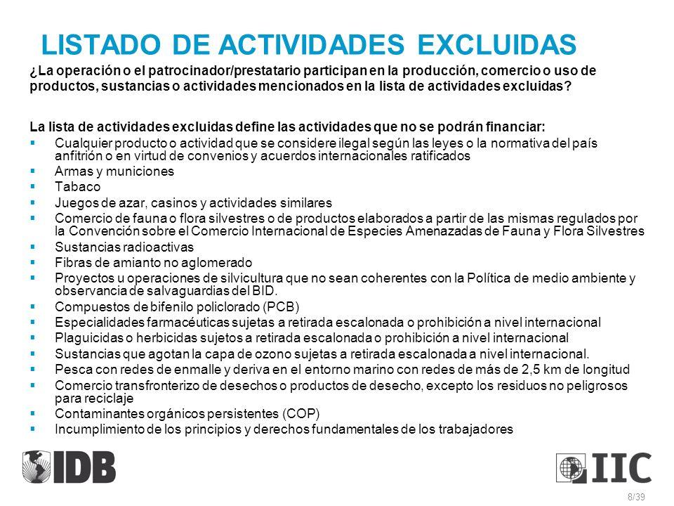 LISTADO DE ACTIVIDADES EXCLUIDAS