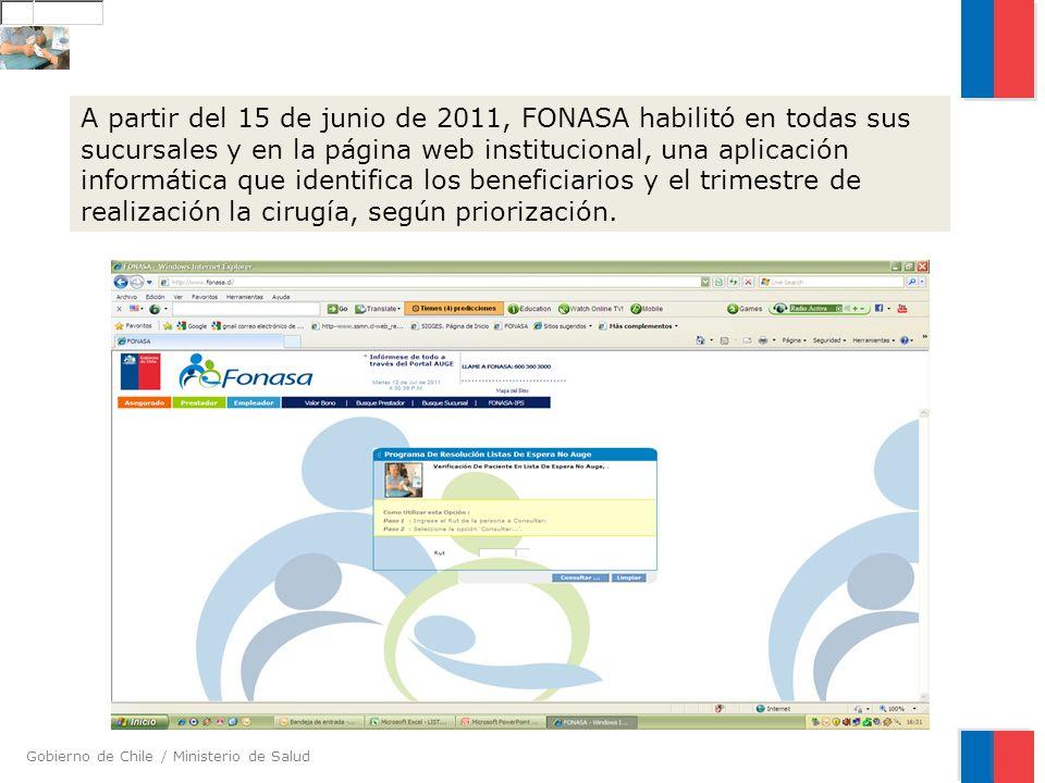 A partir del 15 de junio de 2011, FONASA habilitó en todas sus sucursales y en la página web institucional, una aplicación informática que identifica los beneficiarios y el trimestre de realización la cirugía, según priorización.