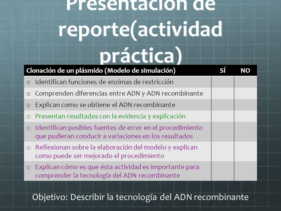 Presentación de reporte(actividad práctica)