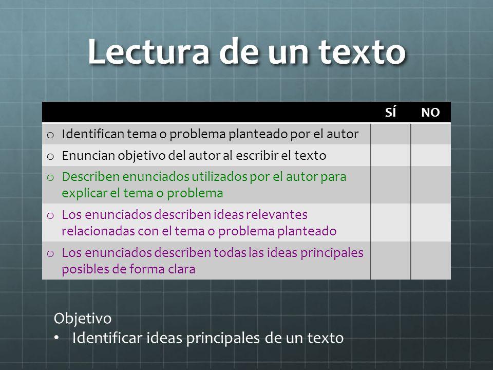 Lectura de un texto Objetivo Identificar ideas principales de un texto