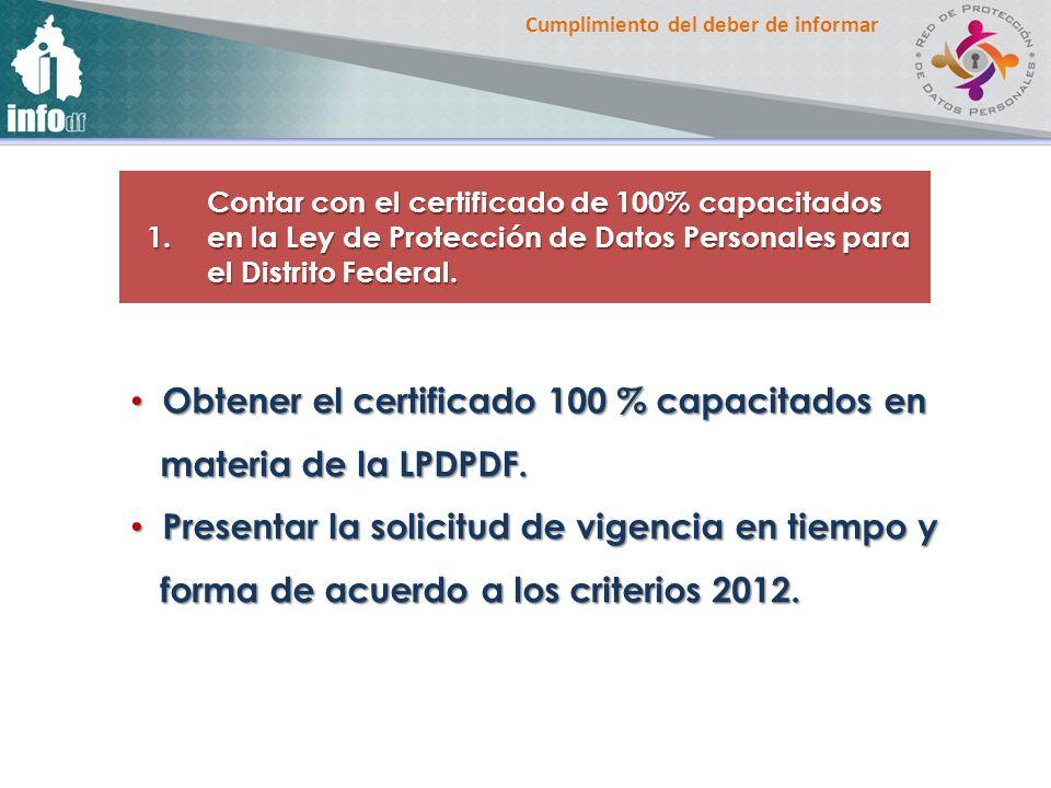 Obtener el certificado 100 % capacitados en materia de la LPDPDF.