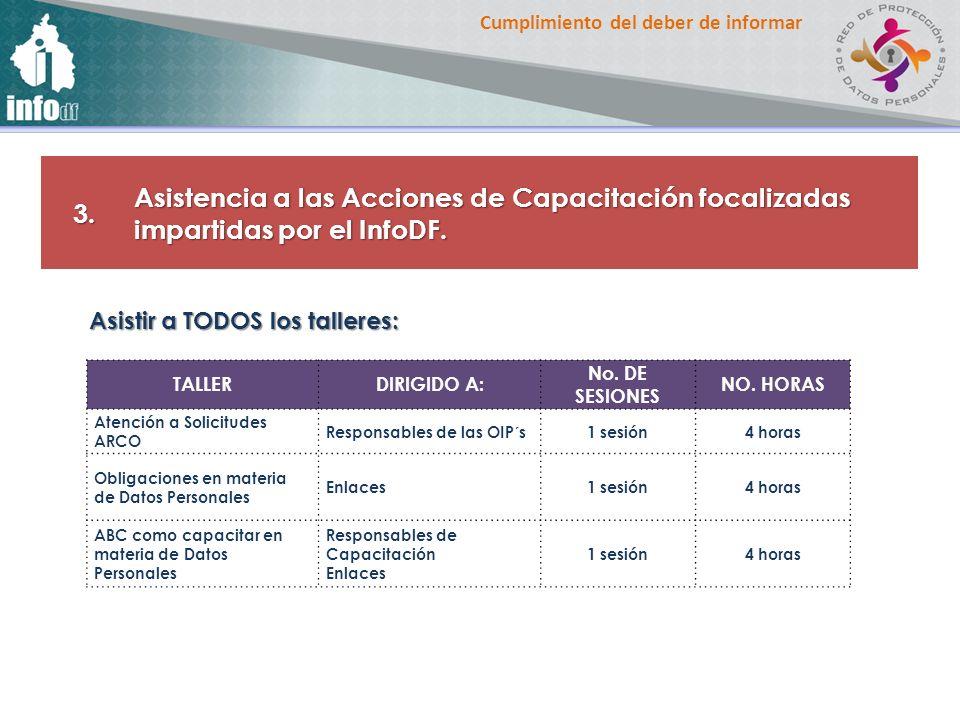 3. Asistencia a las Acciones de Capacitación focalizadas impartidas por el InfoDF. Asistir a TODOS los talleres: