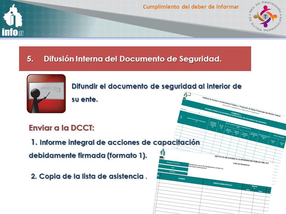 Difusión Interna del Documento de Seguridad.