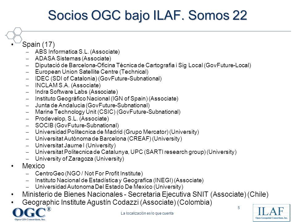 Socios OGC bajo ILAF. Somos 22