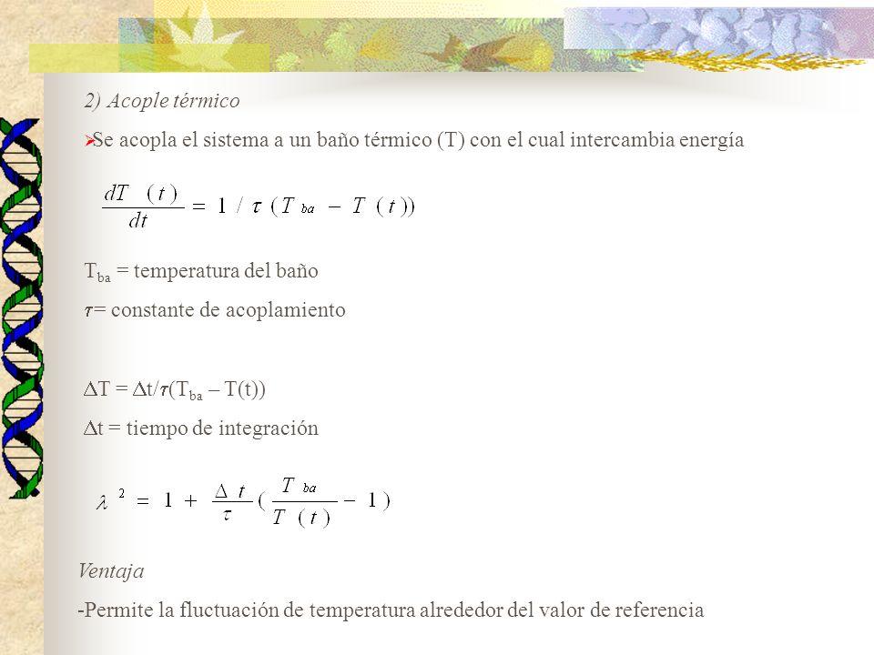 Tba = temperatura del baño = constante de acoplamiento