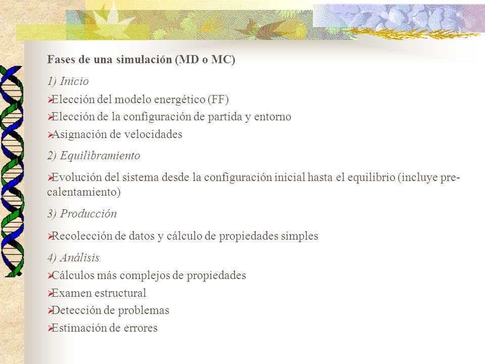 Fases de una simulación (MD o MC) 1) Inicio