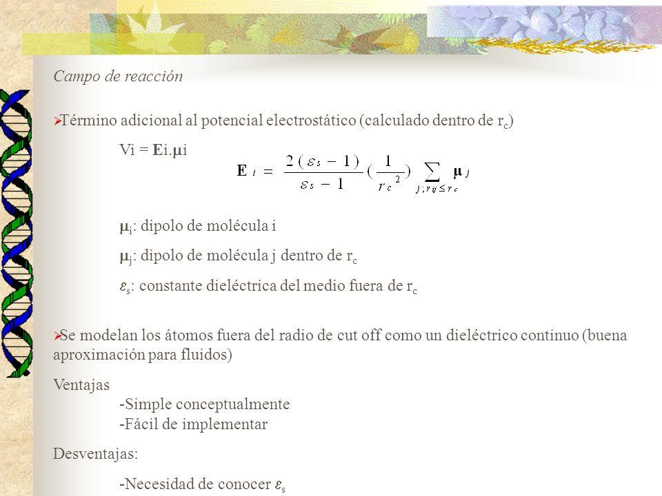 Término adicional al potencial electrostático (calculado dentro de rc)