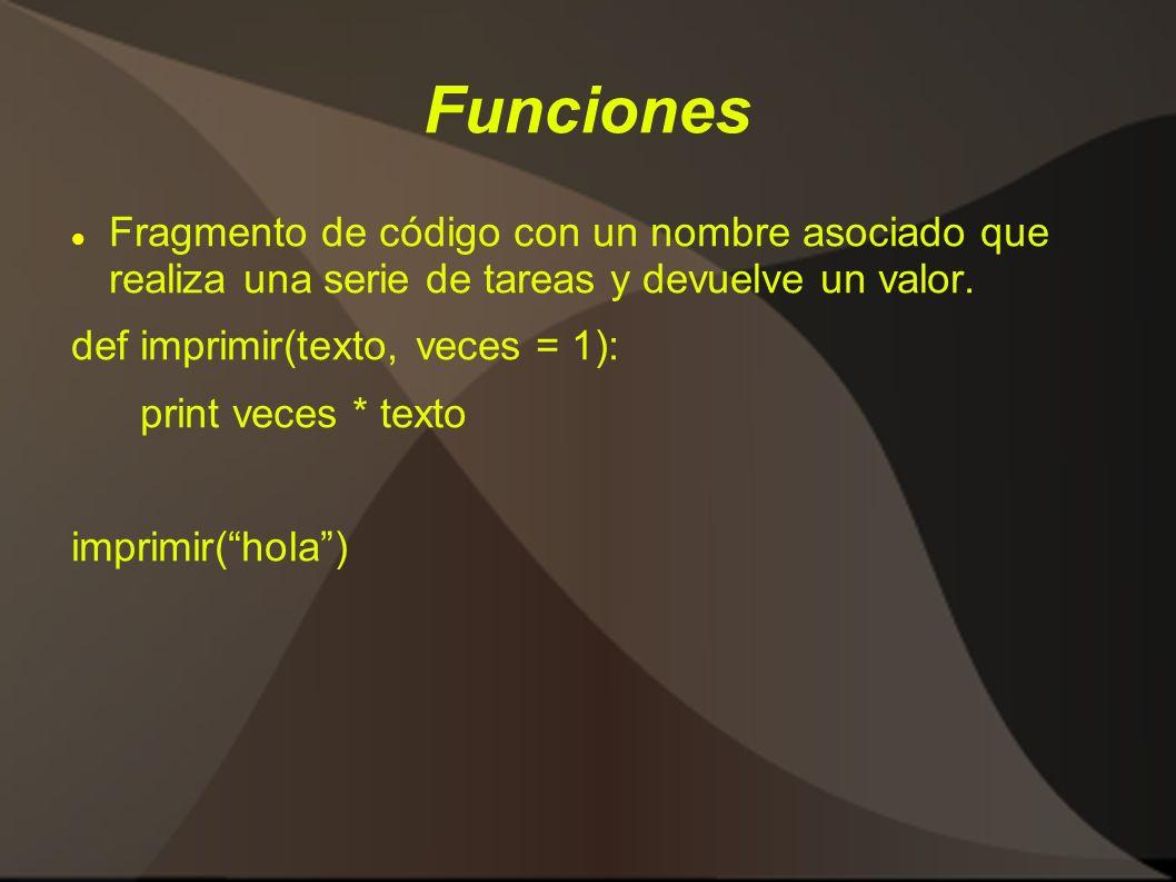 Funciones Fragmento de código con un nombre asociado que realiza una serie de tareas y devuelve un valor.