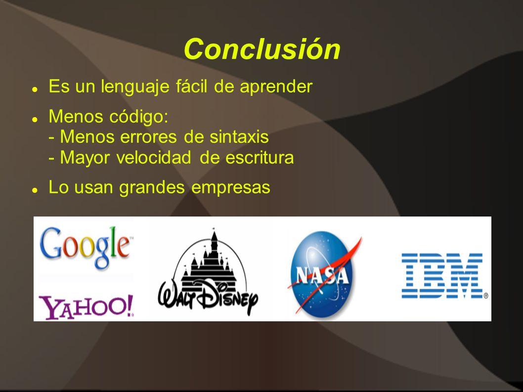 Conclusión Es un lenguaje fácil de aprender