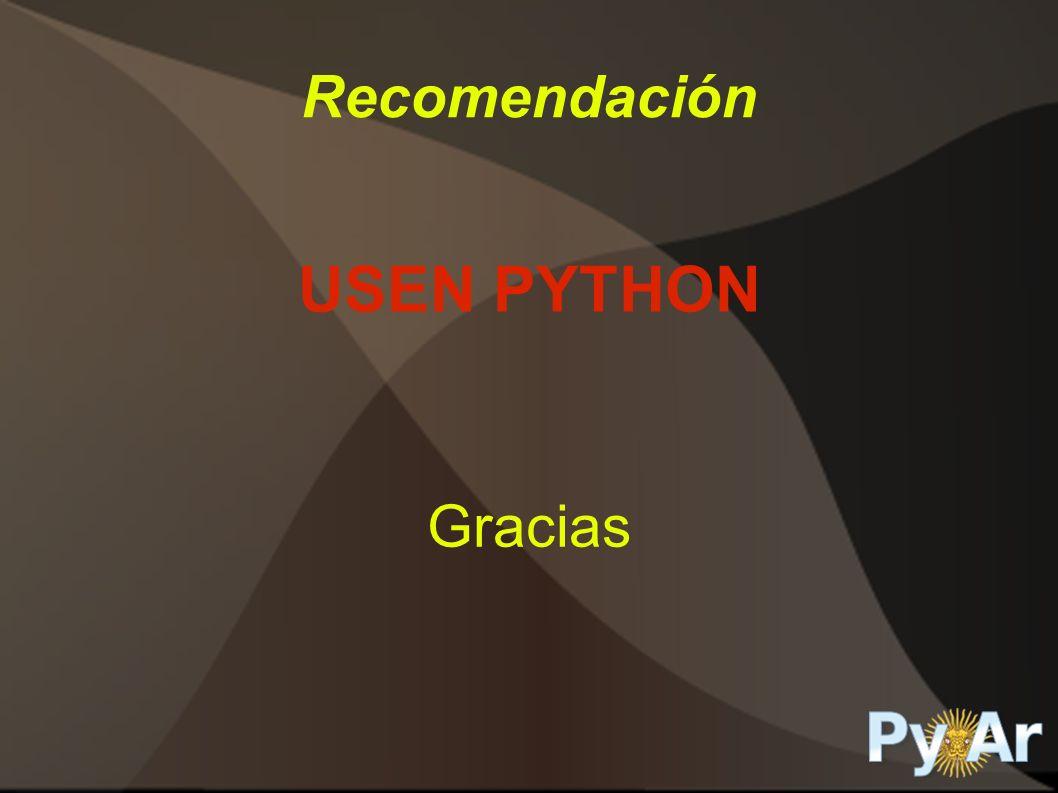 Recomendación USEN PYTHON Gracias