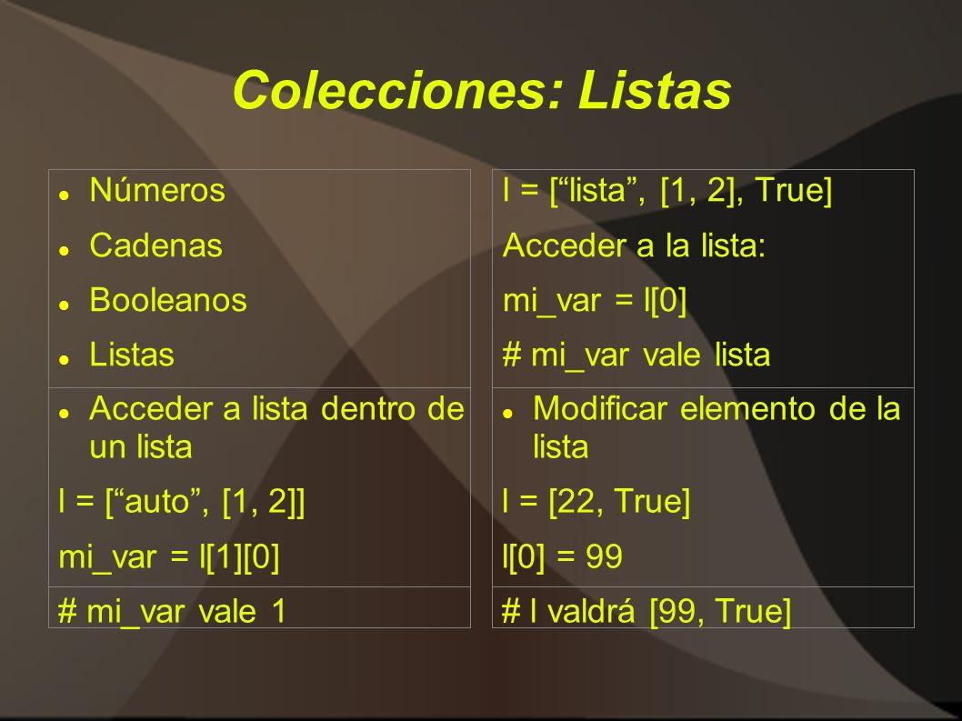 Colecciones: Listas Números Cadenas Booleanos Listas