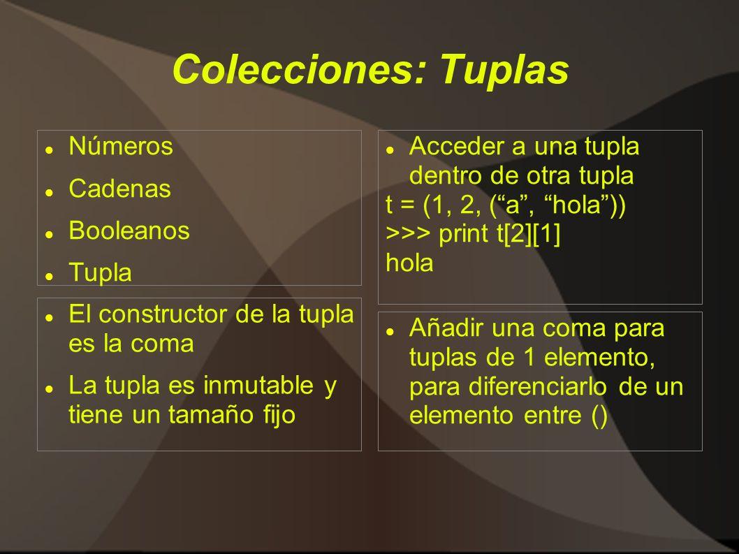 Colecciones: Tuplas Números Cadenas Booleanos Tupla