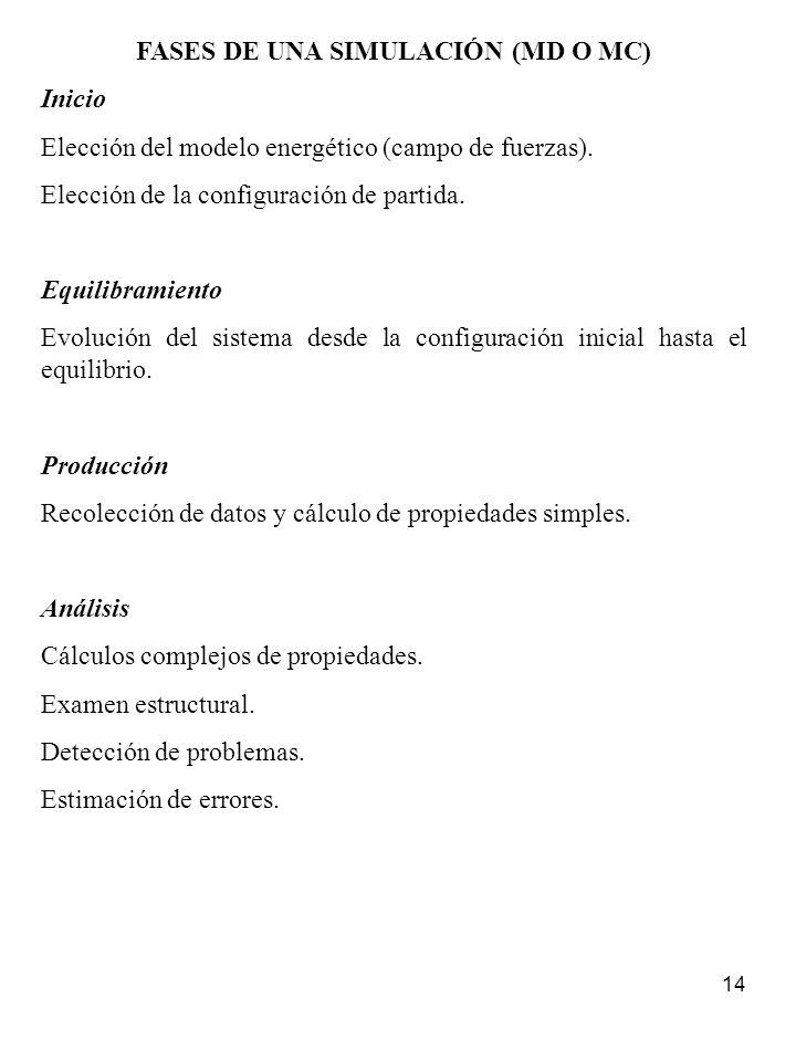 FASES DE UNA SIMULACIÓN (MD O MC)