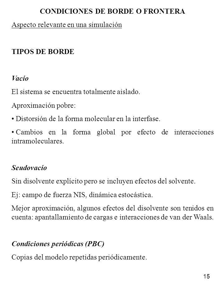 CONDICIONES DE BORDE O FRONTERA