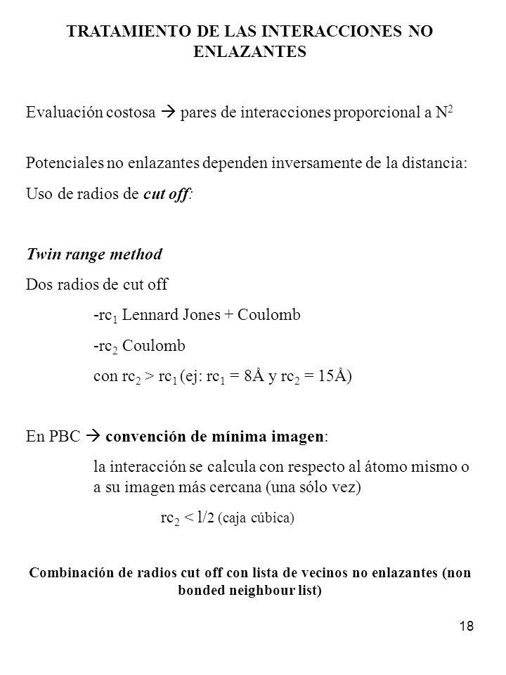 TRATAMIENTO DE LAS INTERACCIONES NO ENLAZANTES